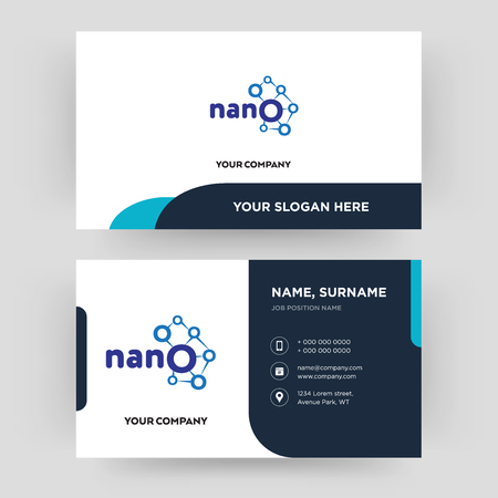 nano, business card design template, Visiting for your company, Modern Creative and Clean identity Card Vector Vector Illustration