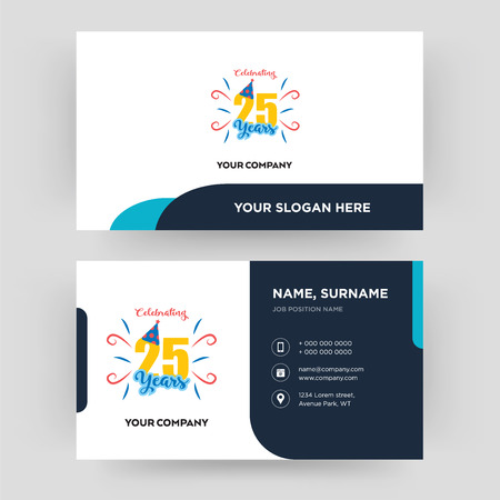 celebrating 25 years, business card design template, Visiting for your company, Modern Creative and Clean identity Card Vector Ilustração