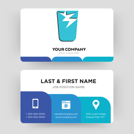 broken glass, business card design template, Visiting for your company, Modern Creative and Clean identity Card Vector Illustration