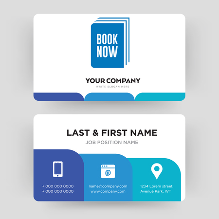 book now, business card design template, Visiting for your company, Modern Creative and Clean identity Card Vector Illustration