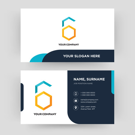 hex, business card design template, Visiting for your company, Modern Creative and Clean identity Card Vector Banque d'images - 102383683