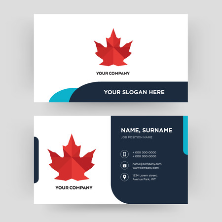 canada leaf, business card design template, Visiting for your company, Modern Creative and Clean identity Card Vector