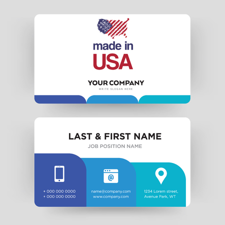 made in usa, business card design template, Visiting for your company, Modern Creative and Clean identity Card Vector Illustration