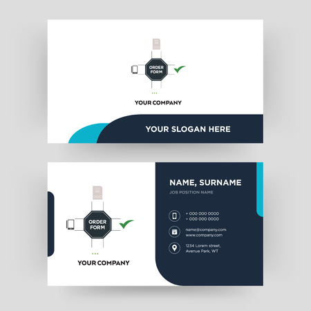 order form, business card design template, Visiting for your company, Modern Creative and Clean identity Card Vector Ilustração