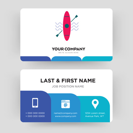 kayak, business card design template, Visiting for your company, Modern Creative and Clean identity Card Vector Ilustração