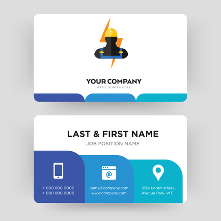 electrician, business card design template, Visiting for your company, Modern Creative and Clean identity Card Vector