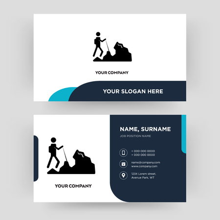 hiker, business card design template, Visiting for your company, Modern Creative and Clean identity Card Vector Illustration