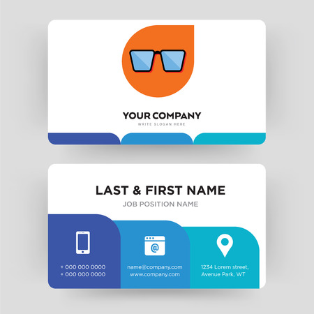 nerd glasses, business card design template, Visiting for your company, Modern Creative and Clean identity Card Vector