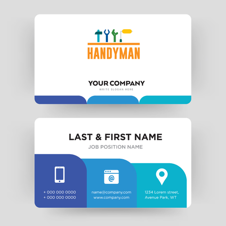 handyman, business card design template, Visiting for your company, Modern Creative and Clean identity Card Vector