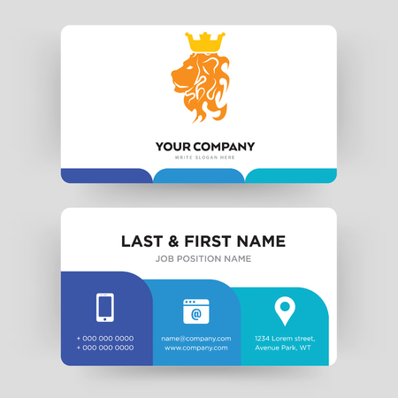 royal lion, business card design template, Visiting for your company, Modern Creative and Clean identity Card Vector