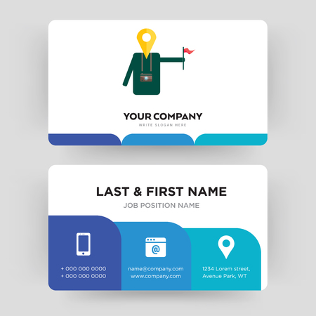 tour guide, business card design template, Visiting for your company, Modern Creative and Clean identity Card Vector Illustration