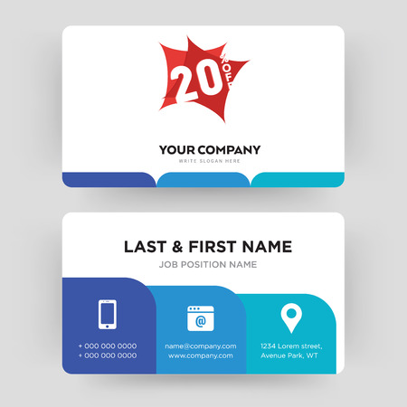 20% off, business card design template, Visiting for your company, Modern Creative and Clean identity Card Vector