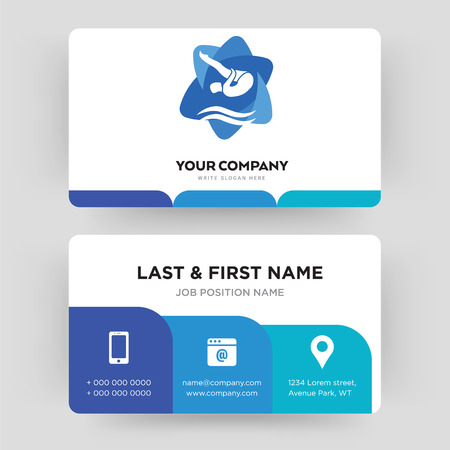 swim and dive, business card design template, Visiting for your company, Modern Creative and Clean identity Card Vector
