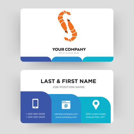 shrimp, business card design template, Visiting for your company, Modern Creative and Clean identity Card Vector Illusztráció