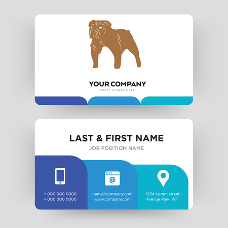 bulldog, business card design template, Visiting for your company, Modern Creative and Clean identity Card Vector Illustration