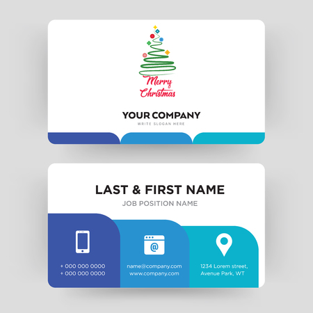merry christmas, business card design template, Visiting for your company, Modern Creative and Clean identity Card Vector