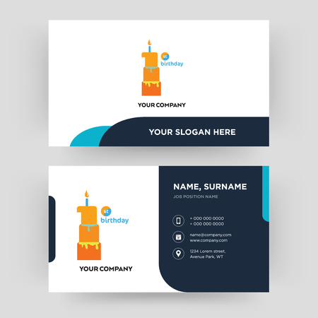 first birthday, business card design template, Visiting for your company, Modern Creative and Clean identity Card Vector