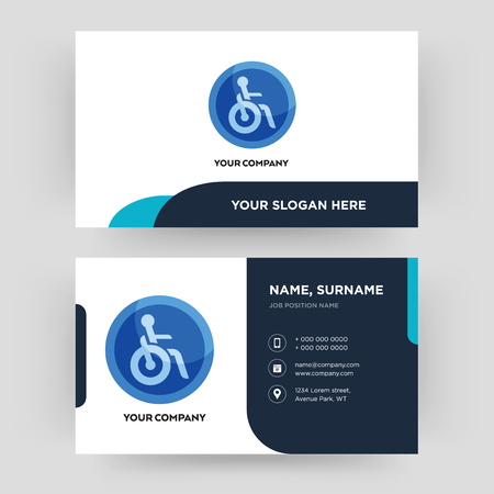 disabled, business card design template, Visiting for your company, Modern Creative and Clean identity Card Vector  イラスト・ベクター素材