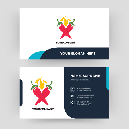 chili pepper, business card design template, Visiting for your company, Modern Creative and Clean identity Card Vector  イラスト・ベクター素材