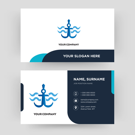 navy anchor, business card design template, Visiting for your company, Modern Creative and Clean identity Card Vector