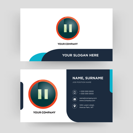 pause, business card design template, Visiting for your company, Modern Creative and Clean identity Card Vector