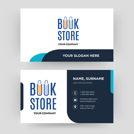 book store, business card design template, Visiting for your company, Modern Creative and Clean identity Card Vector