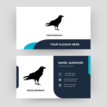 raven, business card design template, Visiting for your company, Modern Creative and Clean identity Card Vector