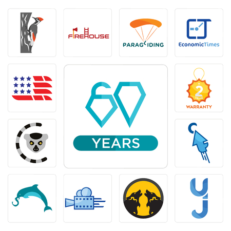 Set Of 13 simple editable icons such as diamond jubilee, yj, pack wolf, videography, elephand dolphin, fastclick, lemur, 2 year warranty, american flag can be used for mobile, web UI Illustration