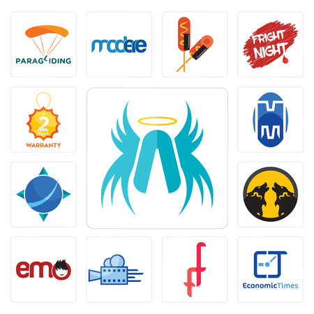 Set Of 13 simple editable icons such as archangel, economic times, double f, videography, emo, pack wolf, geodesy, m, 2 year warranty can be used for mobile, web UI Illustration