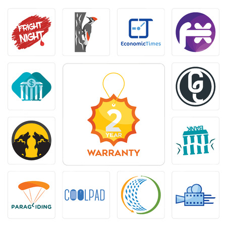 Set Of 13 simple editable icons such as 2 year warranty, videography, general trading, coolpad, paragliding, fake bank, pack wolf, ge white, all bank can be used for mobile, web UI