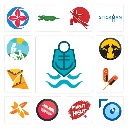 Set Of 13 simple editable icons such as coast guard, lense, fright night, no sugar, javelin, corn dog, crepe, pack wolf, dog trainer can be used for mobile, web UI Ilustração