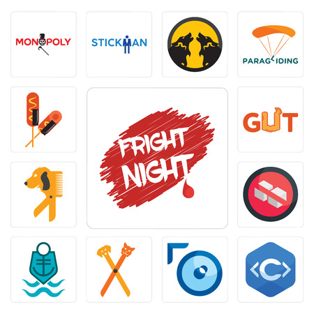 Set Of 13 simple editable icons such as fright night, c language, lense, pet groomer, coast guard, no sugar, dog gut, corn can be used for mobile, web UI