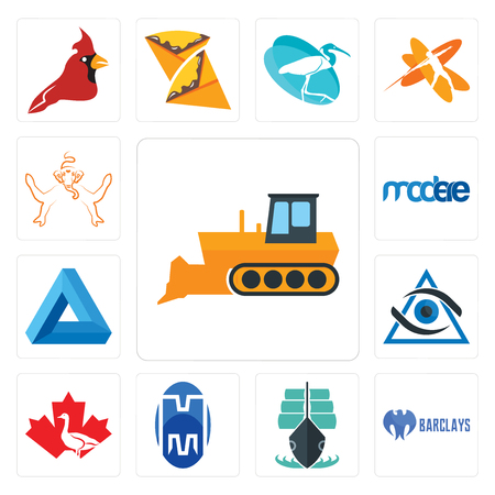 Set Of 13 simple editable icons such as dozer, barclays bank, tall ship, double m, canada goose, third eye, penrose triangle, modere, ganesh can be used for mobile, web UI Banque d'images - 102583233