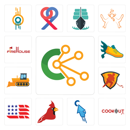 Set Of 13 simple editable icons such as comunication, cookout, fastclick, cardinal bird, american flag, power play hockey, dozer, flying shoe, firehouse can be used for mobile, web UI