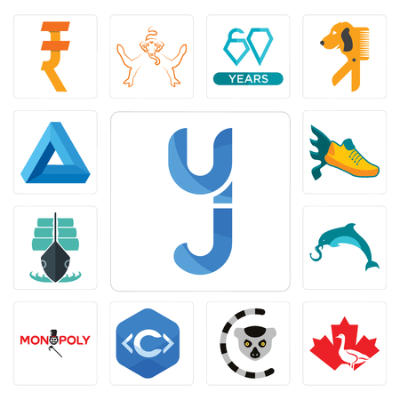 Set Of 13 simple editable icons such as yj, canada goose, lemur, c language, elephand dolphin, tall ship, flying shoe, penrose triangle can be used for mobile, web UI