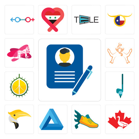 Set Of 13 simple editable icons such as biography, canada goose, flying shoe, penrose triangle, hornbill, , durian, ganesh, pinup can be used for mobile, web UI