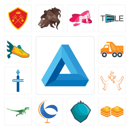 Set Of 13 simple editable icons such as penrose triangle, baklava, s.h.i.e.l.d., g globe, velociraptor, ganesh, christian school, tipper, flying shoe can be used for mobile, web UI Illustration