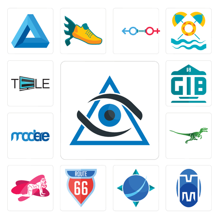 Set Of 13 simple editable icons such as third eye, double m, geodesy, route 66, pinup, velociraptor, modere, generic bank, tele can be used for mobile, web UI Banque d'images - 102465577