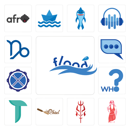Set Of 13 simple editable icons such as flood, womens fashion, satan, chisel, teal, who, drummer, three dots, capricorn can be used for mobile, web UI