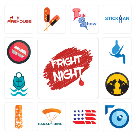 Set Of 13 simple editable icons such as fright night, lense, american flag, paragliding, tiki, pack wolf, coast guard, gastroenterology, no sugar can be used for mobile, web UI Illustration