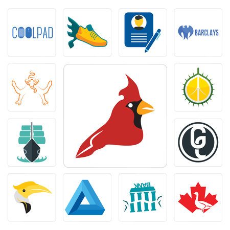 Set Of 13 simple editable icons such as cardinal bird, canada goose, fake bank,  triangle, hornbill, ge white, tall ship, durian, ganesh can be used for mobile, web UI Stock Illustratie
