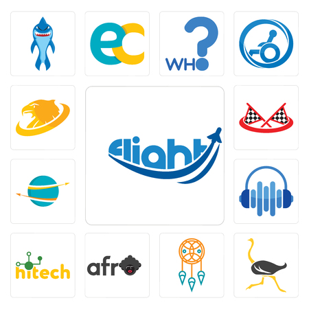 Set Of 13 simple editable icons such as flight, ostrich, dream catcher, afro, hitech, audio visual, import export, checke flag, golden eagle can be used for mobile, web UI