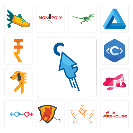 Set Of 13 simple editable icons such as fastclick, firehouse, ganesh, power play hockey, sex store, pinup, dog groomer, c language, rupee can be used for mobile, web UI