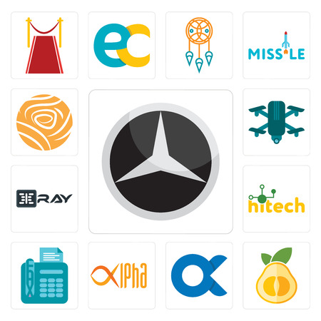 Set Of 13 simple editable icons such as pomelo, , alpha, fax, hitech, xray, quadcopter, golden rose can be used for mobile, web UI  イラスト・ベクター素材