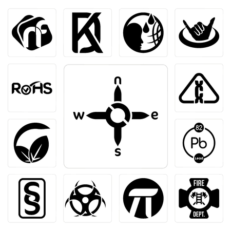 Set Of 13 simple editable icons such as n s e w, fire dept, pi, contagion, paragraf, chemical, vegan vs vegetarian, carcinogen, rohs can be used for mobile, web UI