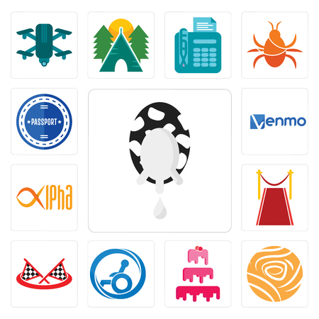 Set Of 13 simple editable icons such as milk company, golden rose, cake handicap accessible, checke flag, carpet, alpha, venmo, passport stamp can be used for mobile, web UI Illustration
