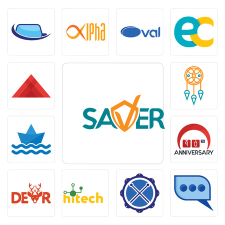 Set Of 13 simple editable icons such as saver, three dots, drummer, hitech, dear, 90th anniversary, paperboat, dream catcher, pyramid can be used for mobile, web UI
