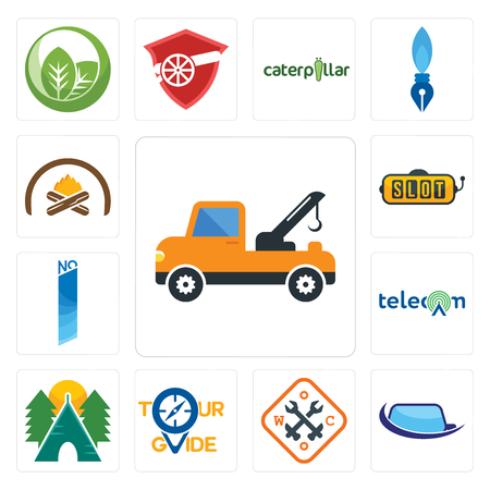 Set Of 13 simple editable icons such as tow truck, auto glass, working class, tour guide, campsite, , no 1, slot machine, hearth can be used for mobile, web UI
