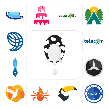 Set Of 13 simple editable icons such as milk company, passport stamp, tucan, cockroach, humming bird, mercedes, pen nib, , wire globe can be used for mobile, web UI Ilustrace
