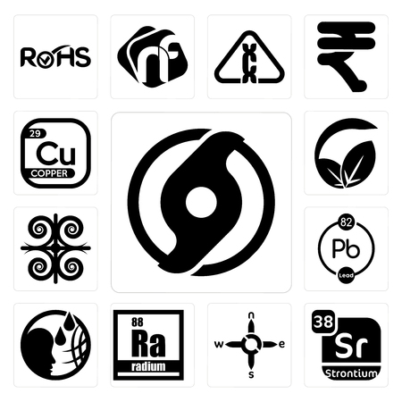 Set Of 13 simple editable icons such as official hurricane, strontium, n s e w, radium, , chemical, vegan vs vegetarian, copper can be used for mobile, web UI